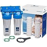 """Caja de filtro doble de 10 """"en línea Reducción de la escala de agua Rosca 3/4"""" bsp"""