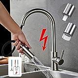 (3 Schläuche) 360° Edelstahl Einhebel Niederdruck Küchenarmatur mit ausziehbarem Auslauf für Küche & Waschbecken, Spültischarmatur für drucklose Boiler, Auslauf...