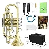 Ammoon Profi Kornett Kupfer Flat B Instrument mit Transportetui Handschuhe...