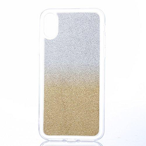 CaseforYou Hülle iphone X Schutz Gehäuse Hülse Ultra Slim Fit Glitter Gradient Soft TPU Phone Back Case Cover Protective Shell Schutzhülle für iphone X Handy (Light Blue) Golden