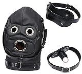 Máscara de piel de fibra, máscara de juego para parejas, cálida y a prueba de frío, tamaño ajustable, lleva un tapón y una máscara para los ojos (negro)
