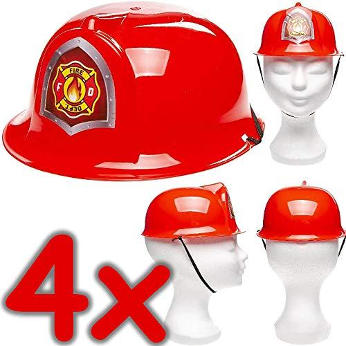 Neu: 4 x Feuerwehrhelme für Kinder | Verkleidung zum Feuerwehr-Kindergeburtstag, Fasching und Mottoparty | Jedes Feuerwehrmann-Kind liebt Diese Helme! (Kinder Helm Feuerwehr)
