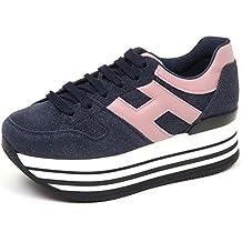 Hogan E0254 Sneaker Donna Blu H283 Maxi 222 H Grande Shoe Woman
