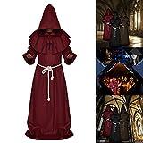Surfmalleu Halloween Decoracon Disfraz de Monje Mago Sacerdote Cosplay Traje de Fraile Medieval Capucha Encapuchado Renacimiento para Adultos (Grande, Rojo Vino)