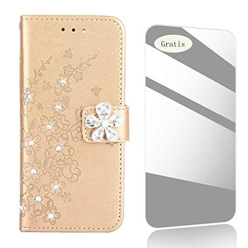Custodia Galaxy S8,THRION Fiore di diamante Custodia [Slot per Schede][Gratis pellicola protettiva in vetro temperato] PU-Pelle cover per Samsung Galaxy S8 - D'oro