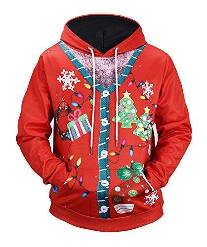 Honeystore Herren Damen 3D Druck Sweatshirts Weihnachten Pullover mit Aufdruck Herbst Hemd Kapuzenpullover Langarm Top Jumper Shirt Laternen L (Herren-schuh Drew)
