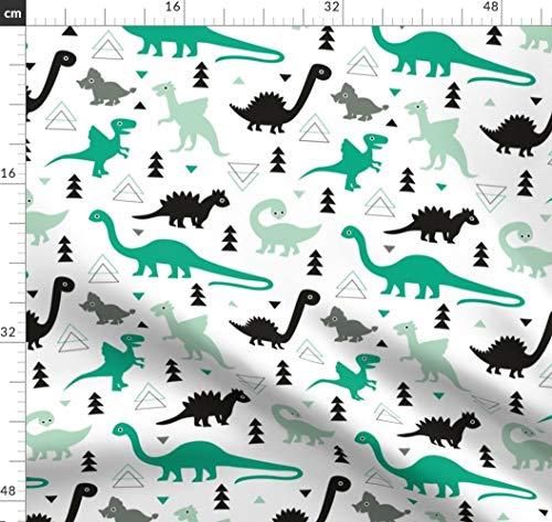 Grün, Dino, Jungen, Geometrisch, Wald, Frühling Stoffe - Individuell Bedruckt von Spoonflower - Design von Littlesmilemakers Gedruckt auf Bio Musselin -