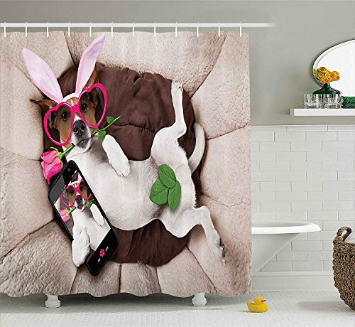 Animal Decor Shower Curtain by, Cute Doggy Looking with Heart Shaped Glasses and Rose Puppy Humor Picture, Fabric Bathroom Decor Set with Hooks, 60x72 inches Extra Long, Beige Brown (Halloween Doggy Happy)