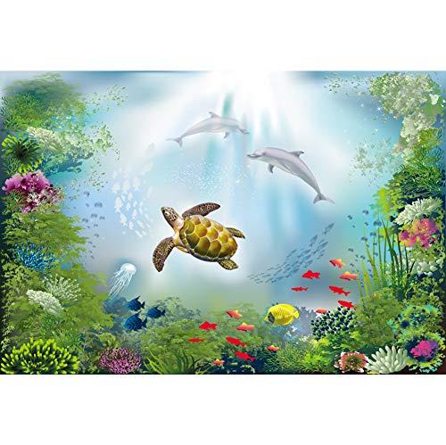 OERJU 1,5x1m Unterwasser Welt Hintergrund Bunter Seetang Schildkröte Delphin Tropischer Fisch Hintergrund Party Poster Banner Dekorationen Geburtstag Hochzeit Porträt Fotografie Requisiten