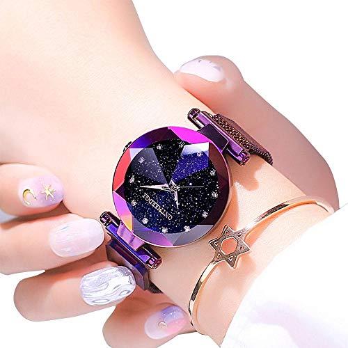 OOOUSE Uhren für Damen, Sternenhimmel-Uhr mit magnetischem Armband und Armband, lässig, wasserdicht, Quarzuhrwerk, einzigartige Armbanduhr für Studenten mit Edelstahl-Netzband Color 3 (Damen Uhren Einzigartig)