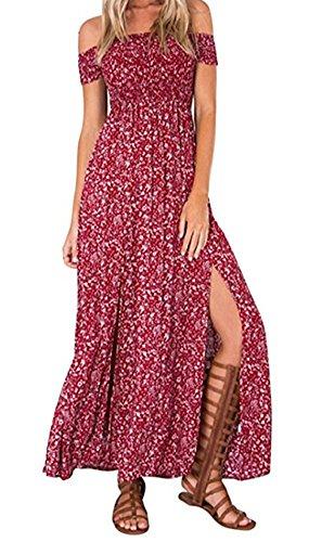 KE1AIP Boho Sommer-Blumen weg von der Schulter-reizvollen Beachwear-Frühlings-Partei-Abschlussball-Kleid-seitlichen Beleg-Kleid Red2