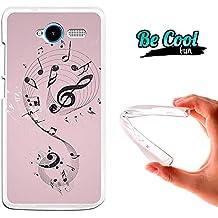 Becool® Fun - Funda Gel Flexible para ZTE Blade L3 .Carcasa TPU fabricada con la mejor Silicona, protege y se adapta a la perfección a tu Smartphone y con nuestro diseño exclusivo Notas de música