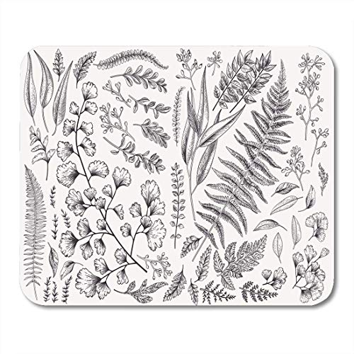 Mauspads Blatt verlässt botanische Farn-Eukalyptus-Buchsbaum-Weinlese-schwarze mit Blumenmausunterlage für Notizbücher, Tischrechnermatten Bürozubehöre -