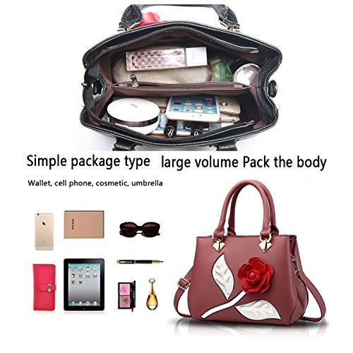 Tisdaini Borsa del raccoglitore della borsa elegante del fiore del sacchetto di spalla della borsa delle donne Polvere di gomma