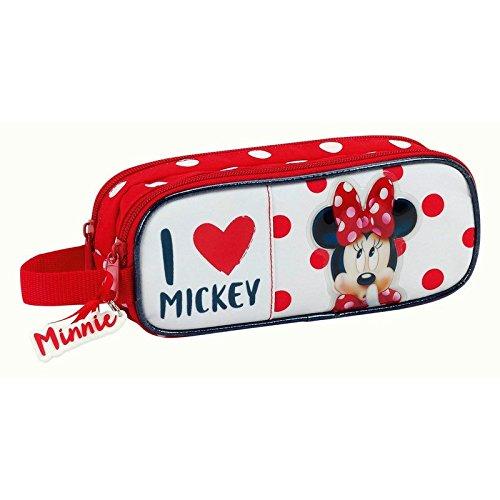 Minnie Mouse Estuches, 21 cm, Rojo y Blanco