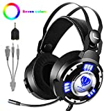 T98 Gaming Headset PS4 Kopfhörer, Stereo mit Mikrofon 3.5mm Surround Sound Geeignet für Nintendo Switch,Xbox One,Mobile,PS4,PC