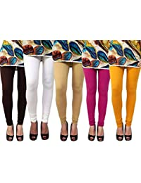 Anekaant Pack Of 5 Cotton Lycra Free Size Women's Legging -Brown, White, Beige, Purple, Gold