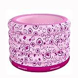 Yugang Tragbare Badewanne der Runden Erwachsenen Kinder Verdickte aufblasbares unabhängiges Portable mit Bequemer Hoher Qualität Weicher Sicherheitsbadewanne PVC-Rosablau 100 * 75CM (Farbe : Pink)