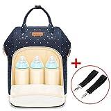 Sac à langer/sac à dos de voyage avec 2crochets pour poussette - Multifonction - Grande capacité - Élégant, imperméable et résistant- Pour le shopping ou les voyages - Bleu