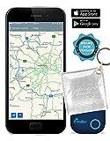musegear Schlüsselfinder mit Bluetooth App in Weißer Echt-Leder-Tasche I Version 2 I Keyfinder Laut für Handy in Blau I GPS Ortung/Kopplung I Schlüssel Finden