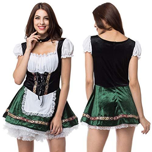 Damen Kleid PPangUDing Oktoberfest Dirndl Kostüm Bierfest Zofe Kellnerin Cosplay Bayerische Maid Dress Biermädchen Schürze Taverne Bar Traditionelles Midikleid Karneval (4XL, Grün)