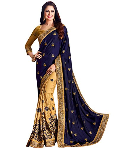 Owee Georgette Saree With Blouse Piece (27096Var_Blue And Baige_Free Size)
