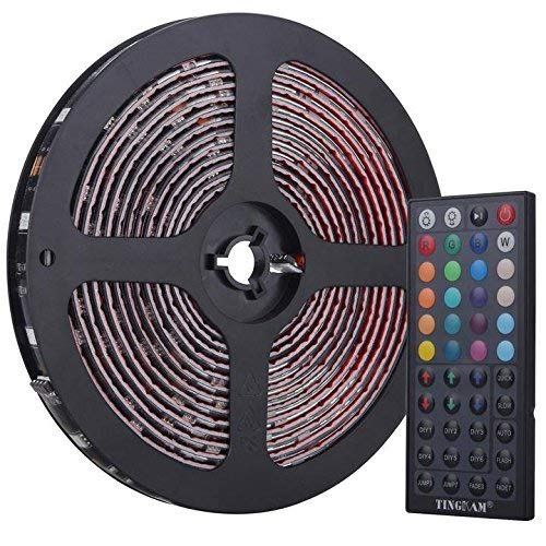 TingkamÃ'® 5M 150 leds 5050 SMD Waterproof RGB Flexible Led Bands Party Essentials Music LED Strip Light Kit 20 Key Music Controller UK Power Adapter by Tingkam