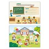 Einladungskarten Einschulung Schulanfang Jungen Mädchen 8 Stück - Klassenzimmer
