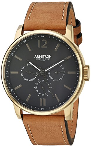 armitron-mens-20-5217bkgptn-multi-function-dial-tan-leather-strap-watch