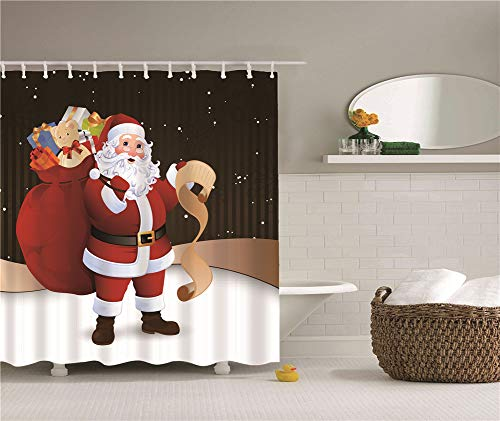 ZZZdz Santa Claus Hält Eine Rote Geschenktüte. Gefüllt Mit Geschenken. Duschvorhang. Wasserdicht. Einfach Zu Säubern. 180X180Cm.