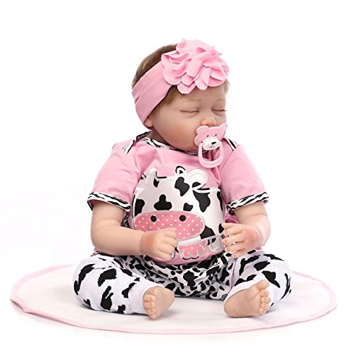Reborn bebé muñeca suave silicona 22inch 55cm dormir diseño de realista, niño, niña juguete vaca lácteos flor tocado