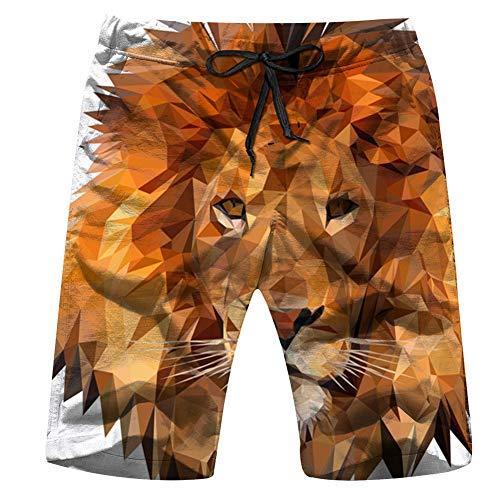 Lion Low Poly Kunst Tier Herren 3D gedruckt lustige Badehose Quick Dry Beachwear Sport Running Schwimmen Board Shorts Mesh Futter M