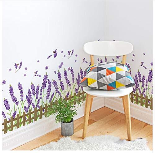 Lavendel Blume Baseboard Aufkleber Lila Farbe Pflanzen PVC Material Wandtattoos Für Wohnzimmer Schlafzimmer Dekoration