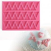 moule silicone lettres drapeaux triangulaires pour pâte à sucre amande fimo résine