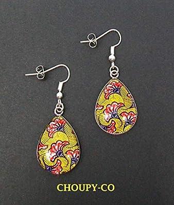Boucles d'oreilles pendantes gouttes cabochon * fleurs wax * jaune moutarde orangé argenté ethnique africain boucles longues femme idée cadeau noël anniversaire fêtes.