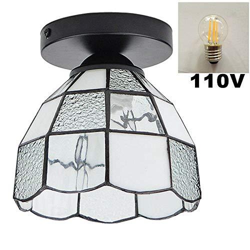 6-licht Halogen-flush (Semi-Flush Mount Deckenleuchte Wandleuchte Wandleuchte Retro Indoor Home Decor, 1 Licht + 1 E27 6W 110V LED Birne)