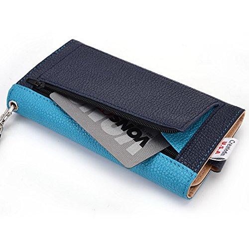 Kroo Housse de transport Dragonne Étui portefeuille pour Samsung Galaxy S III/K Zoom/S3Neo Blue and Red bleu