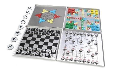 Azerus Alu Line: Aluminium Case 6-in-1: Xiangqi, Schach, Ludo, Halma / Sternenhalma (Chinese checkers), Solitaire (Peg Solitaire oder Sailor's Solitaire), Tic-Tac-Toe, mit magnetische Spielsteinen, Spielbrett 11,5cm x 11,5cm x 0,7cm (XY040P6 DE)