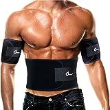 aacfa666a1c1 ODOLAND®  1+2  Ceinture de Fitness – Ceinture de Sudation Abdominale+Bras,  Réglable Antidérapante Respirable - Favorise la Perte de Poids