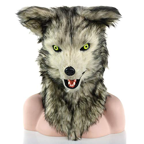 Furry Blaue Kostüm - OYWNF Gray Furry Wolf Head Masks Karnevalsparty-Kostüm-Tiermaske mit beweglichem Mund (Color : Grey)
