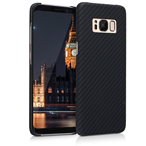 kalibri-Hlle-fr-Samsung-Galaxy-S8-Handy-Schutzhlle-Backcover-Aramid-Cover-Schwarz-matt