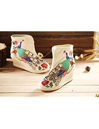 &HZOU Otoño/invierno/impermeable corto botas de goma botas/zapatos/bordado retro/étnico/nuevos modelos manual/mujer , white , 39