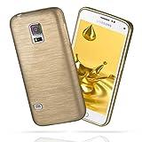 moex Samsung Galaxy S5 | Hülle Silikon Gold Brushed Back-Cover TPU Schutzhülle Ultra-Slim Handyhülle für Samsung Galaxy S5 / S5 Neo Case Dünn Silikonhülle Rückseite Tasche