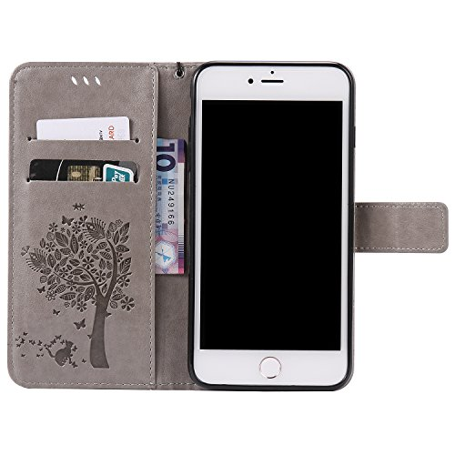 JAWSEU iPhone 7 Plus Coque Cuir à Rabat,iPhone 7 Plus Étui Portefeuille Pu avec Diamant Brillant Bling,2017 Femme Homme Leather Pu Flip Wallet Case Cover avec Magnétique Folio Housse Etui,Luxe Retro É Gris*chat