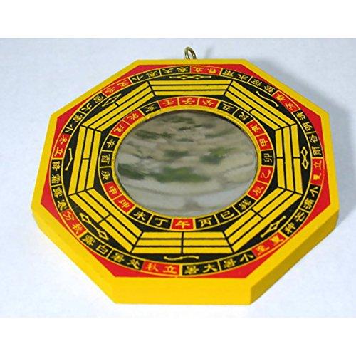 BaGua Spiegel konkav ca. 10,5cm Holz Feng Shui traditionelles Schutzschild China