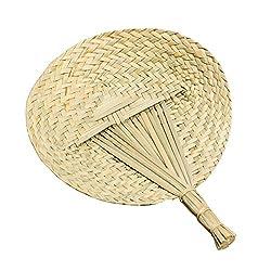 Round Cattail Leaf Fan Summer Woven Fan Handmade Handheld Fan