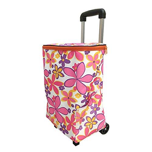QINAIDI Shopping Trolley von   Hohe Qualität leicht groß Kapazität   2Rad Zusammenfaltbarer Einkaufstrolley Warenkorb, blumen