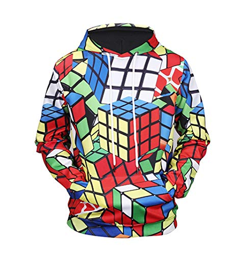 ANFitness Rubik's Cube Print Kapuzen-Sweatshirt 3D Hoodies Sweatshirts Männer Frauen Hoodie Lässige Trainingsanzüge Hoodie Mäntel, Photo Color