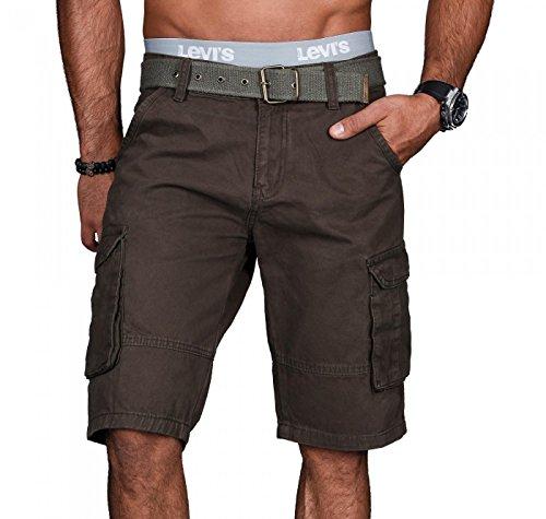 A.Salvarini Stylische Herren Cargo Short inkl. Gürtel Sommer Bermuda Kurze Hose Army Shorts AS-037 [AS037 - Khaki - W34] - Herren Hose Khaki