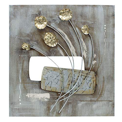 mosa designs - Petite Planteuse - 3D Metallbild Wandbild Blumen Gold Wanddeko 60x60cm